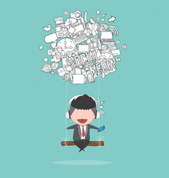 cartoon businessman swinging on social network vector image