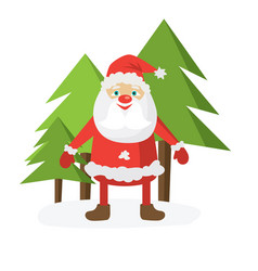Cartoon santa in red hat holding christmas ball vector