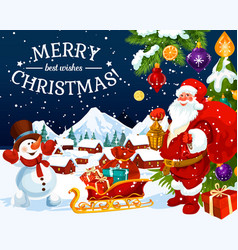 christmas holiday santa and snowman greeting card vector image