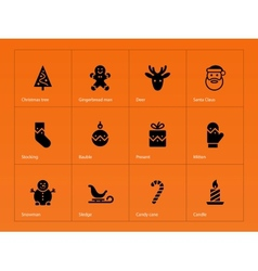Christmas icons on orange background vector image