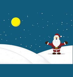christmas santa claus standing snow hill vector image