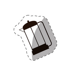Coffee pot handle drink line vector