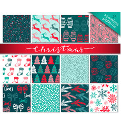 Collection of nine hand drawn winter holidays vector