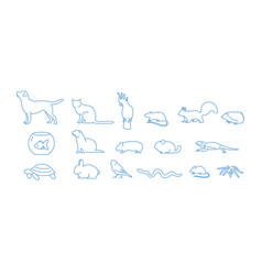 collection of pet icons drawn with blue contour vector image