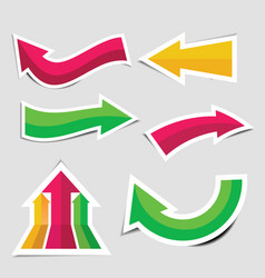 colorful arrow stickers with shadow vector image