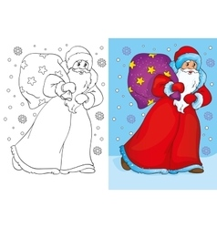 Coloring Book Of Father Frost Walking With Bag vector image