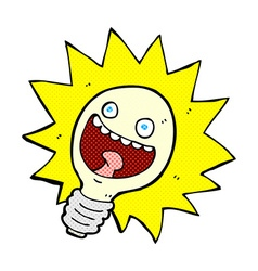 comic cartoon lightbulb vector image