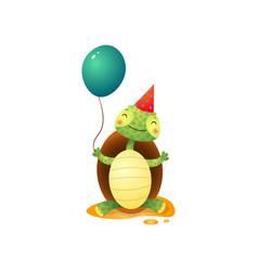 Cute kawaii turtle in birthday hat holding balloon vector