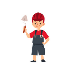 Cute little child boy builder or bricklayer flat vector