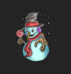Cute snowman bring a candy vector