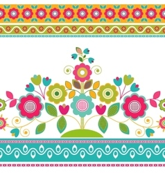 Decorative seamless floral border vector image