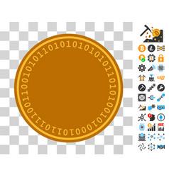 Digital coin template icon with bonus vector