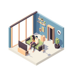 family couple watching tv relax people sitting in vector image
