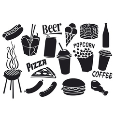 fast food icons set vector image