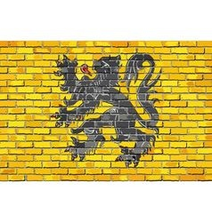 Flag of Flanders on a brick wall vector