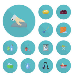 Flat icons mopping sofa housekeeping and other vector