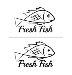 fresh fish logo symbol sign black colored set 9 vector image