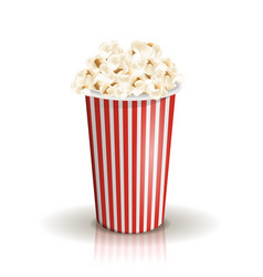 full white-and-red striped bucket of popcorn vector image