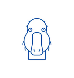 funny duck line icon concept funny duck flat vector image