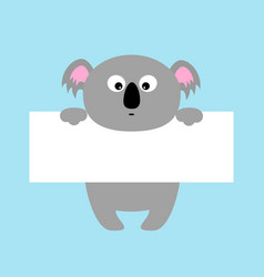 funny koala hanging on paper board template big vector image