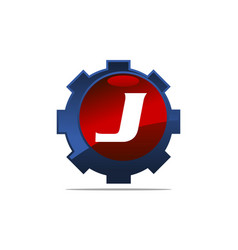 Gear logo letter j vector