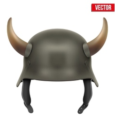 German Army helmet with horns vector image