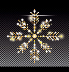 glitter gold snowflake on transparent background vector image