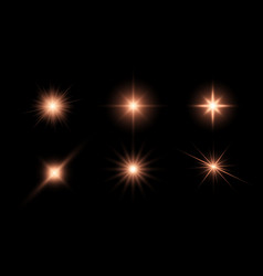 glowing stars light effects graphic elements vector image