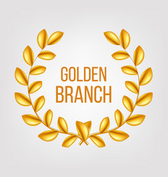golden branch gold laurel wreath award vector image