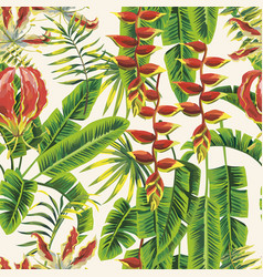 green leaves and red flowers seamless pattern vector image