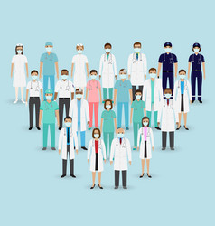 Group doctors nurses and paramedics in masks vector