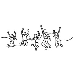 group girls and boys jumping for happy vector image
