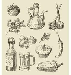 Hand drawn food sketch vector