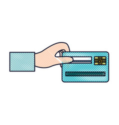 hand holding a credit card in colored crayon vector image