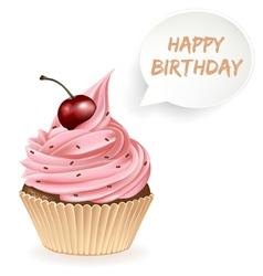 Happy Birthday Cupcake vector image