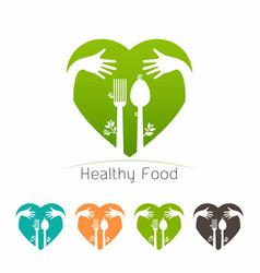 Healthy food logo template vector