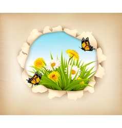 Hole in paper revealing a spring background vector