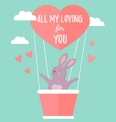 holiday rabbit in love travelling in air balloon vector image