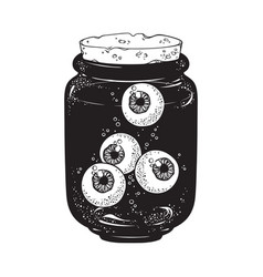 human eyeballs in glass jar isolated sticker vector image