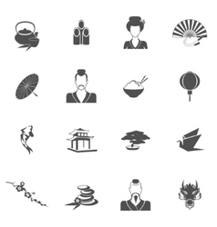 Japan icons black vector image
