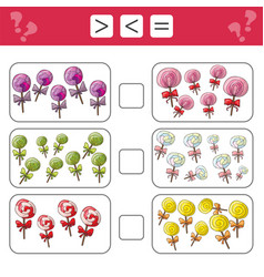 learning mathematics numbers - choose more less vector image