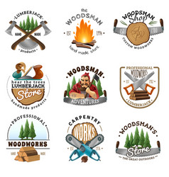 Lumberjack logo emblems labels set vector