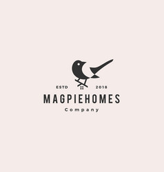 magpie homes house logo hipster retro vintage icon vector image
