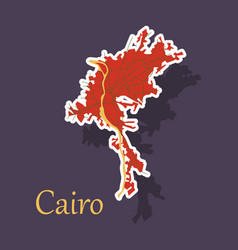 Map of cairo city streets egypt sticker view vector
