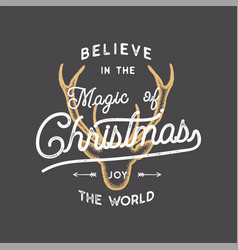 merry christmas lettering believe in the magic vector image
