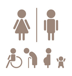 Modern toilet signage has man woman baby old pe vector