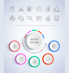 Money income e-commerce web buttons business vector