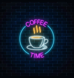Neon coffee time glowing sign in circle frame on vector