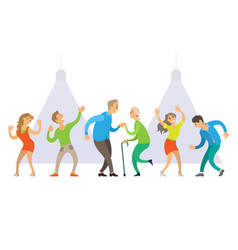 nightclub old and young people dancing at disco vector image