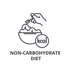 non carbohydrate diet thin line icon sign symbol vector image